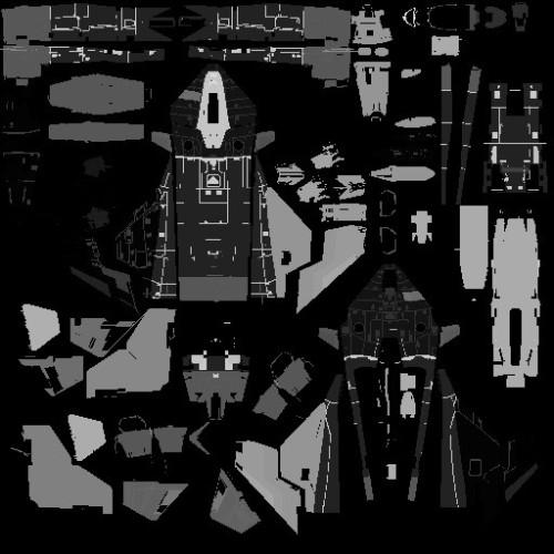 圖4 - Gladius 機體分解圖,展示機體受到攻擊時能產生對應破壞效果的部位,每個不同的顏色代表一個獨立且可分離的飛船部位。